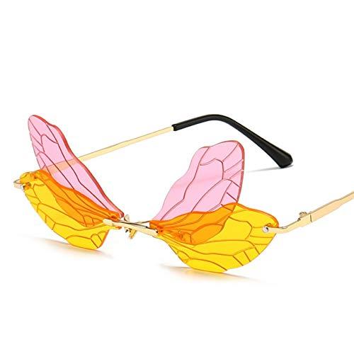 Bomoka 2 gafas de sol de moda, gafas de sol sin montura con alas de libélula de moda, gafas de sol de moda personalidad, estuche de regalo (tamaño 02)