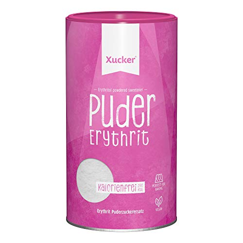 Xucker Puderxucker Erythrit 600g Dose - kalorienfreier Zuckerersatz als vegane & zahnfreundliche Puderzucker Alternative zum Kochen & Backen I Erythritol zuckerfrei