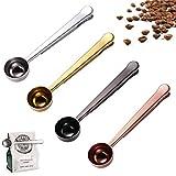 4 cucharillas de café, cuchara medidora con clip de sellado de bolsa, cuchara de café 2 en 1 de acero inoxidable, cuchara de medición multifunción para granos de café, té, leche en polvo y azúcar