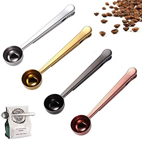 4 cucharillas de café, cuchara medidora con clip de sellado de bolsa, cuchara de café 2 en 1 de acero inoxidable, cuchara...