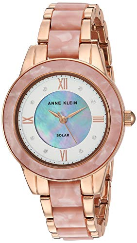 Anne Klein Considered Women's Solar Powered Premium Crystal Accented Rose Gold-Tone and Pink Resin Bracelet Watch, AK/3610RGPK
