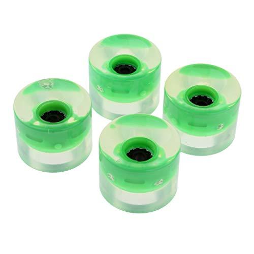 IPOTCH 4 x Skateboard Leuchten Rollen Ersatzrollen für Inlineskates Rollschuhe, Durchmesser 60mm - Grün