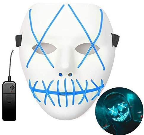 Halloween LED Maschere, Maschera LED Lllumina Costume Terribile con 3 Modalità Flash Llluminano al Buio per Partito Cosplay Costumi Carnevale Feste Decorazione Batteria Alimentata(Non Inclusa)
