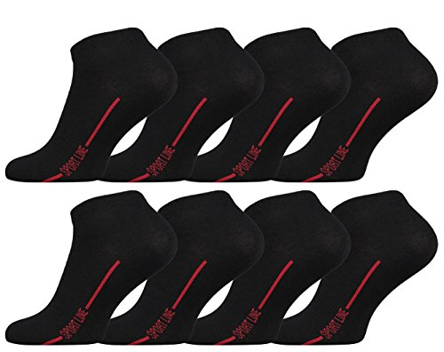 Vincent Creation 8 Paar Herren Sneaker Socken SPORT LINE (43/46, schwarz-rot)
