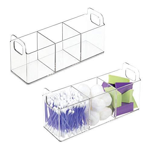 mDesign 2er-Set Kosmetik Organizer mit Griffen – Badablage mit 3 Fächern für Make-up, Pflegeartikel und Verbandsmaterial – kleine Medikamentenbox aus BPA-freiem Kunststoff – durchsichtig