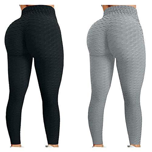 Frobukio Pantalones de yoga de cintura alta para mujer, 2 unidades, para control de barriga, botín de burbujas de cadera, levantamiento de glúteos, mallas atléticas para correr (negro, gris, L)