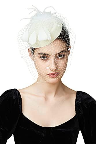 Coucoland Fascinator Pillbox Hat Feather Mesh Net Veil Fascinator Flower Hair Clip Fascinators Hat Bridal Headpiece Wedding Church Derby Hats Race Hat