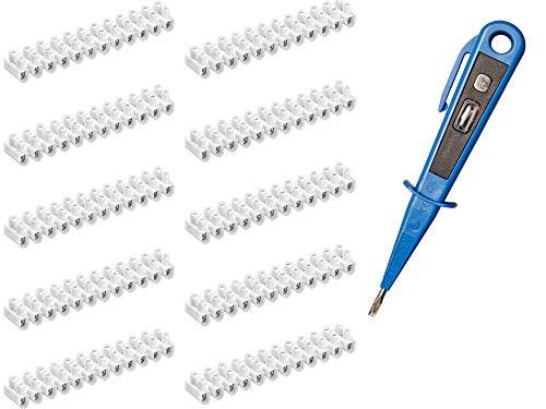 H+H Werkzeug LK10 10 x Lüsterklemmen-SET + 1 x Spannungsprüfer/Phasenprüfer 45300 VDE (Lüsterklemmleiste Lüster Klemme Schraubklemme), weiß, 1-4 mm²