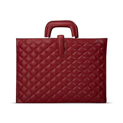 Ktong Maletín para portátil de 13.3 Pulgadas para Mujer, Estuche clásico Rhombus para portátil con Correa para el Hombro, maletín de Cuero para Ordenador,Rojo