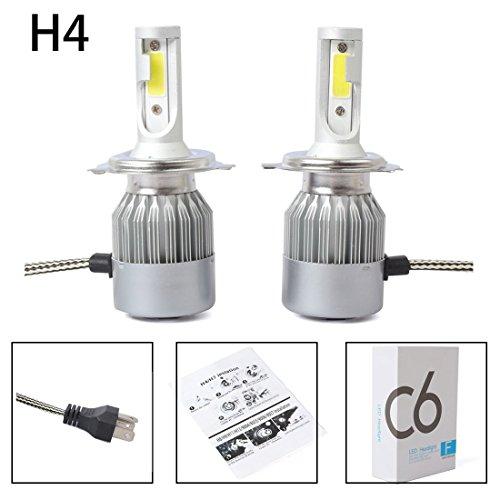 Jaimenalin Nuevo 2pzs C6 LED Kit de Faros de Coche COB H4 36W 7600LM Bombillas de luz Blanca