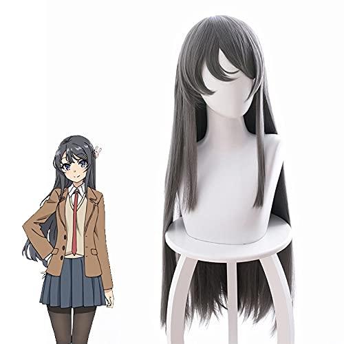 ZZYYII Sakurajima MAI, Pelo Largo Gris Oscuro, Personaje Femenino de Anime Cosplay 80 cm de Pelo Largo, Pelucas de Moda para Mujer utilizadas para cómic con y Fiesta de Halloween