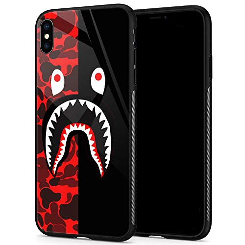 Goodsprout iPhone XR Case,Shark Face iPhone XR Cases for Girls Lady Men Boy Shockproof Anti-Scratch Case for Apple Cases for Apple XR 6.1-inch (Red Black Camo)
