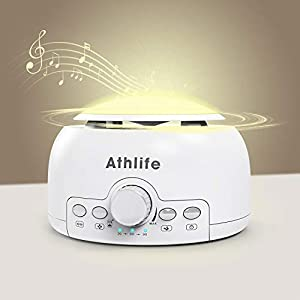 Athlife White Noise Machine Sleep Sound Machine Night Light for Baby Kid Adult with 24 Non Looping HI-FI Soothing Sounds, Memory Feature and Auto-Off Timers for Home, Office & Travel