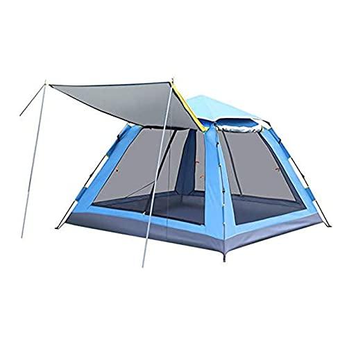 ZIXUAL TiendaPlaya Anti UV Tienda de Playa, sombrilla de Playa Grande con Ventanas ventiladas, Refugio de Sol Campesina de Campamento con Bolsa de Transporte Blue- 5-8 People