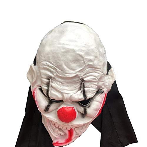 KESYOO Máscara de Halloween Máscara de terror graciosa Fiesta de disfraces Fiesta de terror Cabeza cubierta Máscara de terror Cosplay Monster Prom Party Prom (Blanco y rojo)