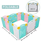 Uanlauo Foldable Baby Playpen Safety Play Yard for Toddler, Kids Activity Centre Indoor or Outdoor(14 Panel) (Multicolored)