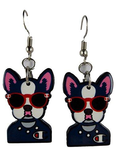 Ohrringe Ohrhänger Hänger silberfarben Kunststoff Hund mit Sonnenbrille Comic 7999
