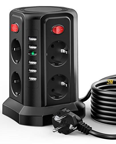 8-Fach Steckdosenleiste Überspannungschutz mit 3M Kabel, Mehrfachsteckdose mit 5 USB(25W/5A/5V)und 4 einzeln Schalters Kindersicherung Steckdosenturm Überstromschhutz für PC Büro Küche TV