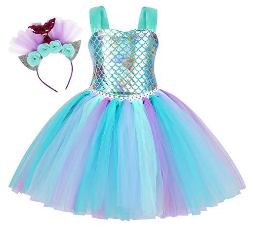 Jurebecia Vestido Sirenita Niñas Princesa Vestidos Niñas Sirenita Disfraz Fiesta de Cumpleaños Mermaid Vestido de Tutú Outfit con Accesorio