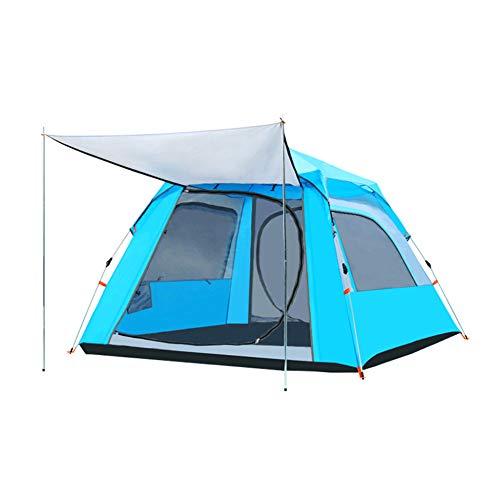 N/C Tente De Camping pour 3-4 Personnes Installez Rapidement Une Tente De Sac à Dos Légère à Deux Portes Grande Tente Imperméable Et Résistante Aux UV Adaptée à La Famille L'extérieur,VinylBlue