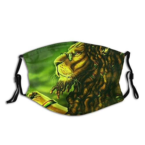 Jamaica Rasta Lion Dreadlocks Grün Waschbarer Mund-Nasenschutz Wiederverwendbare Sonnencreme Halstuch Mundschutz Halstuch Bandana Tuch für Herren Damen