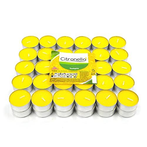 H HANSEL HOME Velas de Té Citronela Tealight Citronela Perfumada Antimosquitos Velas Citronela - Pack 60 Velas, 4,5 Horas de Combustión