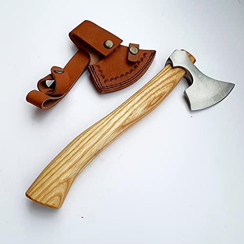 CRAFTOMATIK VAX03 - Hacha vikinga para jardín (acero al carbono, funda de piel de fresno)