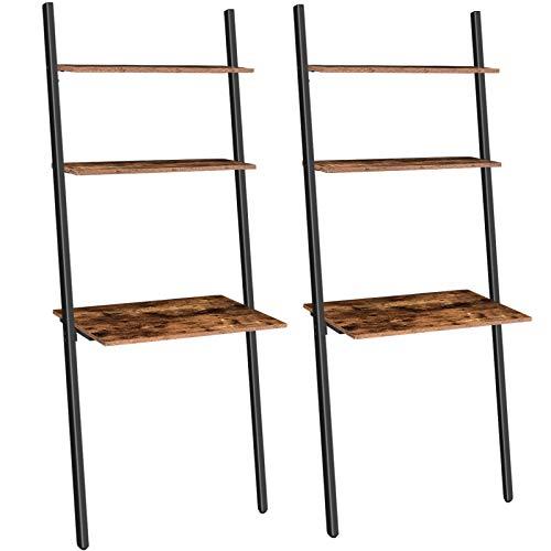 HOOBRO Schreibtisch, Leiterregal, 2er-Set, Computertisch mit 2 Regal, Stabiler Metallrahmen, leicht zu montieren, für Büro, Schlafzimmer, Dunkelbraun EBF72DNP201