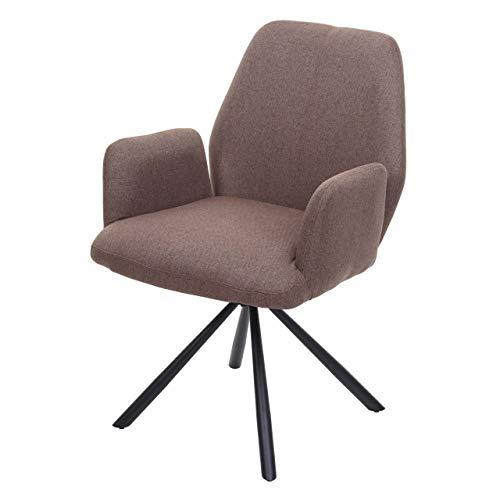 Mendler Esszimmerstuhl HWC-H71, Küchenstuhl Lehnstuhl Stuhl, drehbar Auto-Position Stoff/Textil Stahl ~ braun