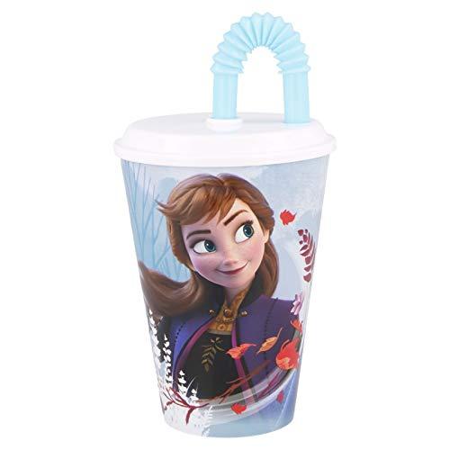 Bicchiere Sport con Cannuccia 430 ml per Bambini in plastica (Frozen II Blue Forest)