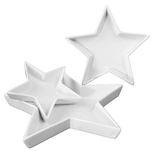 Holst Porzellan Sternschalen 3er Set, Porzellan, Weiß, 26 x 26 x 3 cm