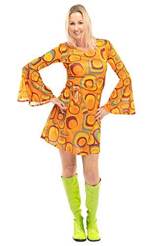 Original Replicas 70er Jahre Bekleidung Damen - Soul Hippie Disco Party Agent Orange Kleid für Frauen XL - XS bis 3XL