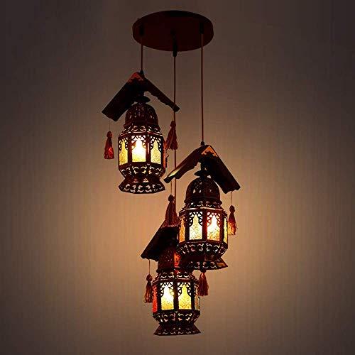 Beautiful home lighting / 3 lampen Rustieke Nordic hanglamp van massief hout metaal glas lantaarn in de slaapkamer Art Deco plafondlamp voor Villa Bar Cafe Attico Lumin