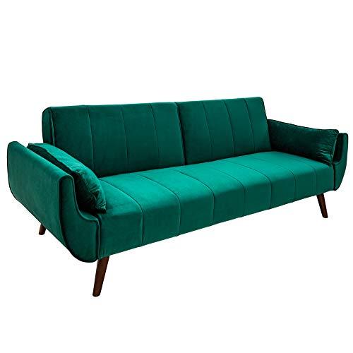 Invicta Interior Retro Schlafsofa DIVANI 215cm smaragdgrün Samt Bettfunktion Schlafcouch Schlaffunktion Couch