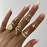 BERYUAN Snake Rings Set for Women Gold Mid Finger Rings for Girls and Teens Jewelry Rings Size 5.5,6,7,7.5,8,8.5(9Pcs)