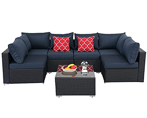 Furnimy 7 Pieces Outdoor Indoor Sectional Sofa Set Patio Furniture Set Rattan Wicker Expresso with Seat Cushions, Glass Top Coffee Table and 2 Pillows (Dark Blue)