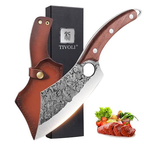 TIVOLI Meat Cleaver Knife Hand Forged Kitchen Knife Full...