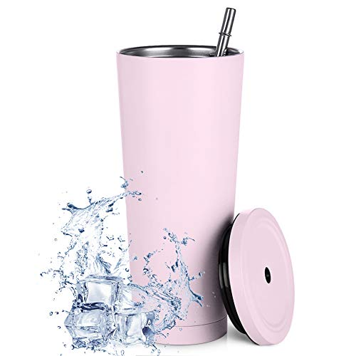 Taza de viaje de acero inoxidable de 750 ml con paja y tapa a prueba de fugas, reutilizable respetuosa con el medio ambiente taza, taza aislada al vacío para bebidas frías o calientes