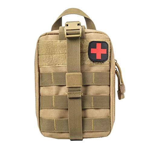 Kaiyei Tactica Bolsa Primeros Auxilios MOLLE Médico Bolsa EMT Kit de Supervivencia Bolsa Bandolera Bolsa con Parche Militar 900D Oxford Impermeable Ciclismo Cámping Caqui