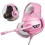 MaiTian Ps4 Gaming Headset, rosa Surround, Sound Bass Pc Kopfhörer, mit Mikrofon Led Licht, für Xbox One/Telefon/Laptop Tablet Gamer