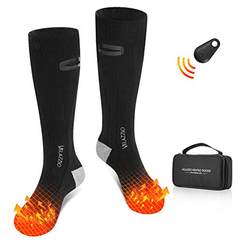 VELAZZIO Heated Socks for Men Women, Remote Control 2600mAh 3.7V Rechargeable Electric Heated Socks with 3 Heat Settings for Winter Sports (Black, Medium)
