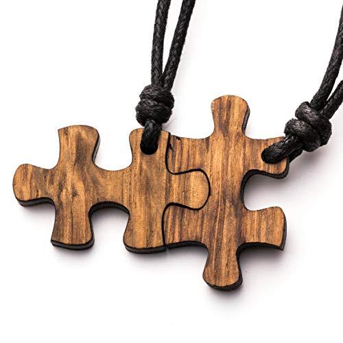 treeforce Puzzle Pärchen Halskette, Schlüsselanhänger oder Auto- Anhänger 3in1 DIY Schmuck aus Kupfereiche