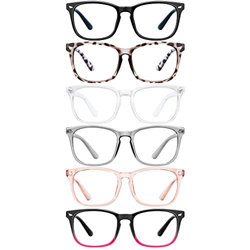 Blue Light Blocking Glasses - 6pack for Women/ Men Computer Reading Gaming Anti Eyestrain Blue Light Glasses Non Prescription