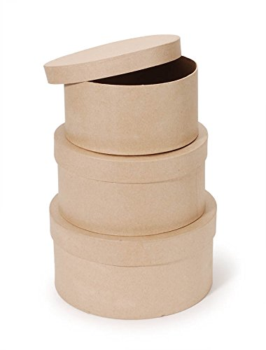 """Darice Paper Mache Craft Boxes – 8"""", 9"""" and 10"""" Round Boxes With Lids – Sturdy Boxes Come Nested Inside Each Other – Perfect for Decorating – Create Card Boxes, Centerpieces and More, Set of 3"""