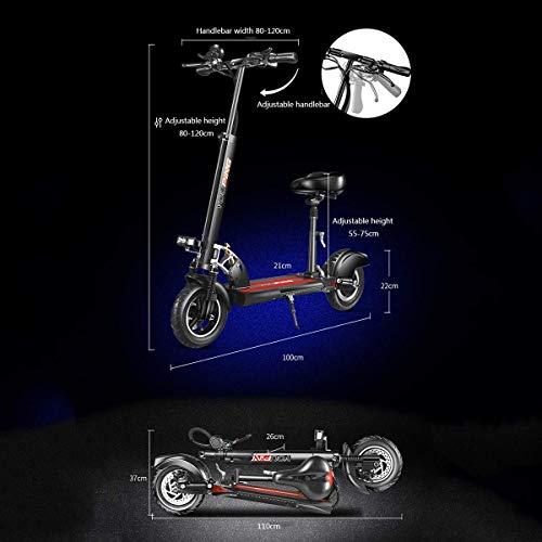 Outdoor 500 W Elektroroller mit Klappsitzen und Lenker, Pocket Bike mit starker Tragfähigkeit, knorrigen Luftreifen für Offroad-Fahrten und leistungsstarken Mini-Rollern für Erwachsene, Schwarz,