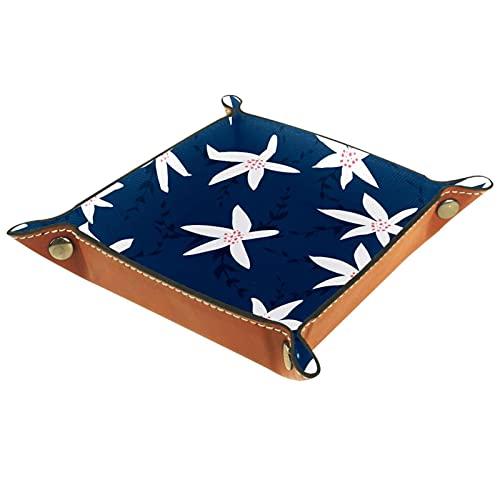 Bandeja plegable de cuero para guardar joyas, organizador de maquillaje, para llaves, monedas, relojes, joyas, dados, patrón de flores blancas fondo azul marino
