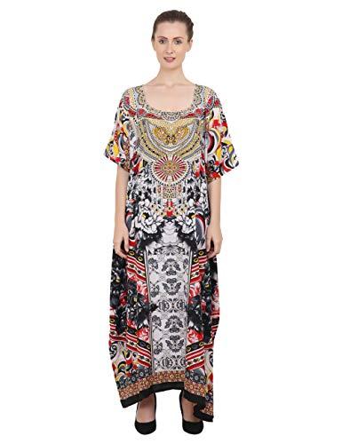 Miss Lavish London Kaftano Tunica Plus Size Spiaggia Coprire Maxi Vestito Pigiameria Impreziosita Kimonos 133-nero 56-60