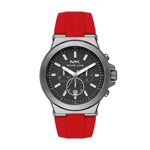 Michael Kors Men's Dylan Stainless Steel Quartz Watch with Rubber Strap, Red, 26 (Model: MK8728)