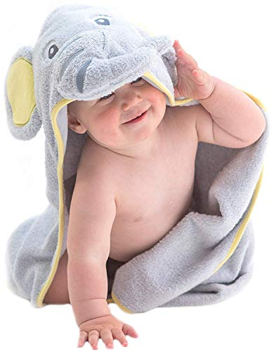 Little Tinkers World Hooded Baby Towel Gray Elephant Natural Cotton Soft and Absorbent Bath Towels