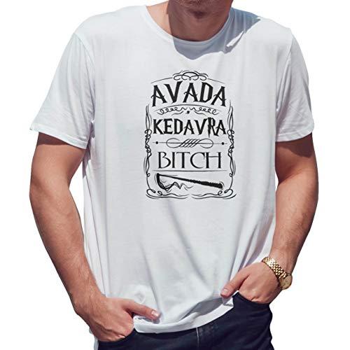 Avada Kedavra Bitch Camiseta de Hombre Blanca Size XL